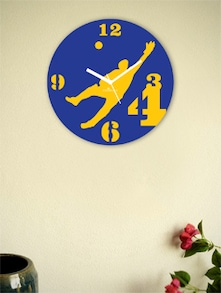 Blue And Yellow Perfect Cricket's Dive Wall Clock - Zeeshaan