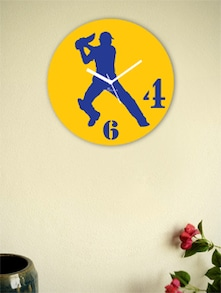 Yellow And Blue Batsman Wall Clock - Zeeshaan