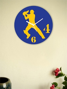 Blue And Yellow Batsman Wall Clock - Zeeshaan