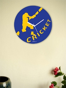Blue And Yellow Winning Cricket Shot Wall Clock - Zeeshaan