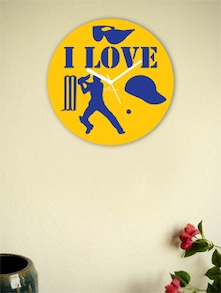 Yellow And Blue I Love The Game Wall Clock - Zeeshaan