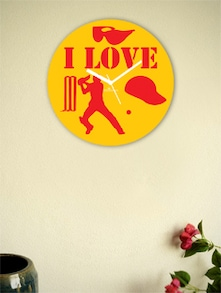 Yellow And Red I Love The Game Wall Clock - Zeeshaan