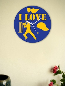 Blue And Yellow I Love The Game Wall Clock - Zeeshaan