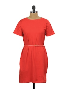 Ruby Red T-Shirt Dress - Miss Chase