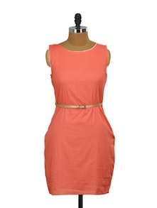 Coral Cotton Dress With Sparkling Gold Belt - Miss Chase