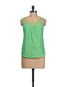 Elegant Sea Green Printed Tunic - 9rasa