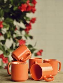Stylish Orange Cups - Set Of 6 - Habitation