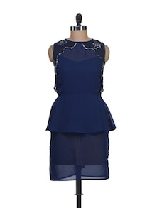 Navy Blue Peplum Dress - Liebemode