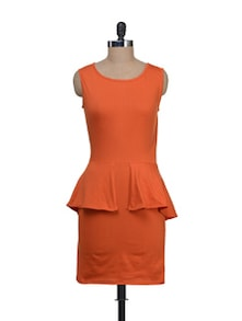 Stretch Orange Peplum Dress - Liebemode