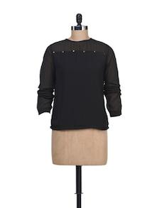 Full Sleeved Black Top With Sheer Sleeves - Liebemode