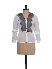 Sheer White Shirt With  Lace Detailings - Liebemode