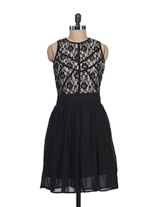 Lace Bodice Dress In Black - Liebemode