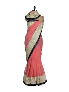Pink Sequined Saree - Purple Oyster