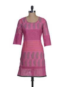Elegant Pink Printed Kurta - RIYA