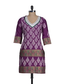 Ethnic Purple Printed Cotton Kurta - RIYA