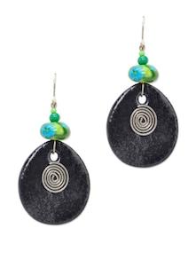 Ethnic Black Tear Drop Earrings - Eesha Zaveri; Jewellery By Design