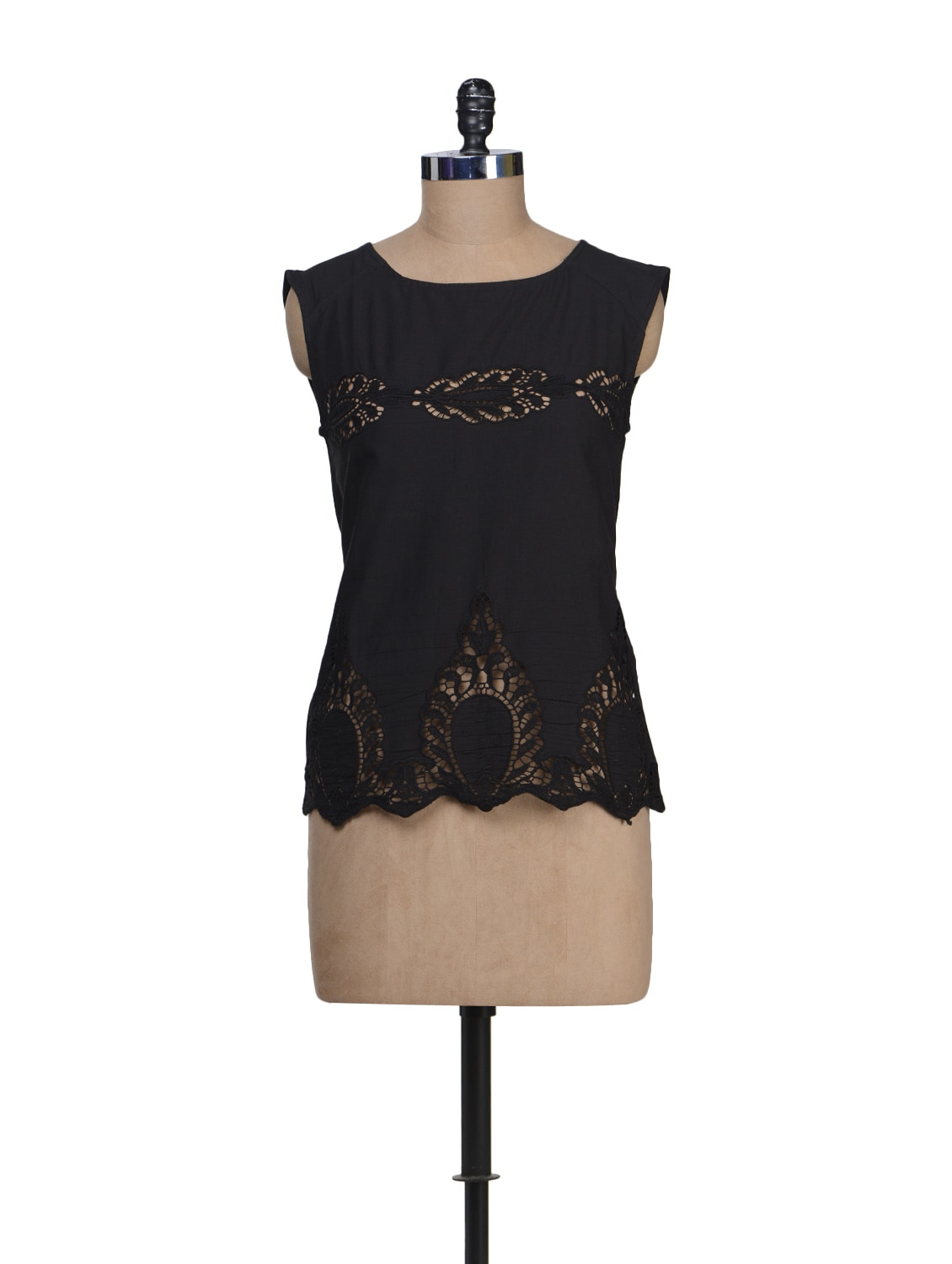 Simple Black Top With Elegant Cut Out Motifs - Stylechiks