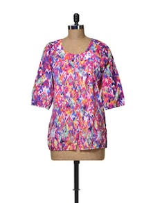 Buttoned Colour Splash Top - Ayaany