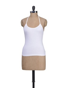 Cool White Halter Neck Camisole - Lady Lyka