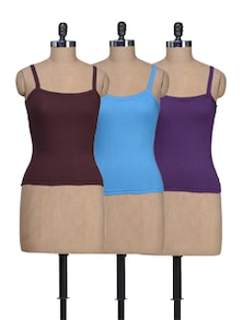 Brown, Blue & Purple Camisoles - Set Of 3 - Lady Lyka