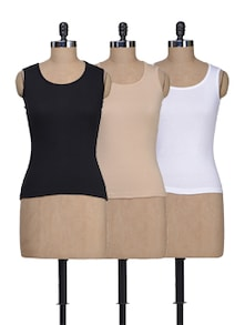 Black, White & Skin Camisoles - Set Of 3 - Lady Lyka