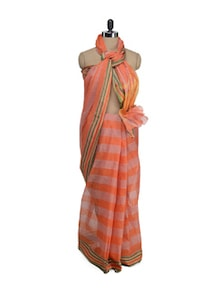 Cotton Saree In Orange Stripes - Aadrika Saree