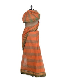 Broad & Pin Striped Saree In Orange And Olive - Aadrika Saree