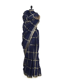 Gold Chequered Saree In Navy Blue - Aadrika Saree
