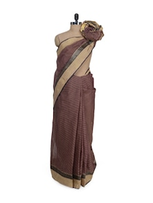 Deep Brown Pin Striped Saree - Aadrika Saree