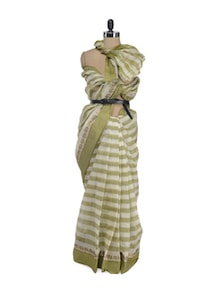 Striped Saree In Off White And Olive - Aadrika Saree