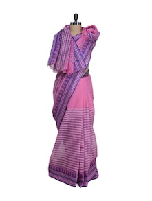 Pink Saree With Ikkat Weave Border - Aadrika Saree