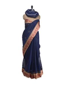 Navy Blue Saree With Traditional Border - Aadrika Saree