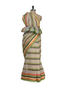 Beige Cotton Saree With Multi Hued Striped - Aadrika Saree