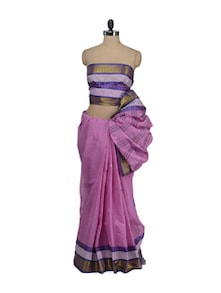 Pink Booti Saree With Purple Zari Border - Aadrika Saree
