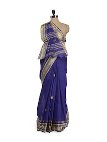 Violet Saree With All Over Booti Work - Aadrika saree