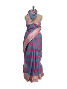 Pink & Green Saree In Checks - Aadrika Saree