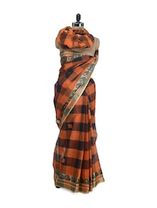 Checked Saree In Orange And Black With Gold Weave Border - Aadrika Saree