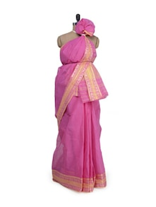Pink Saree With Traditional Banarasi Border - Aadrika Saree
