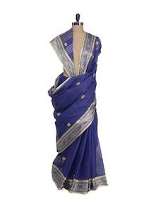 Navy Blue Saree With Rich Banarasi Border - Aadrika Saree