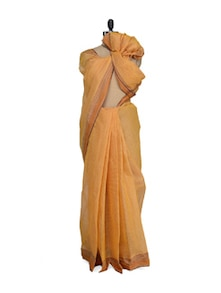 Pin Striped Mustard Saree - Aadrika Saree