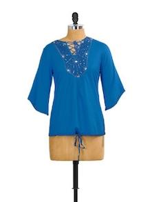 Classy Azure Polyester Tunic