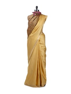 Yellow Gold Pure Katan Banarasi Saree With Attached Blouse Piece - Bunkar