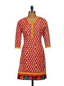 Fashion Forward Red Kurti - ETHNIC