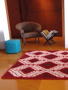 Artful Red & White Geometric Rug - India Circus