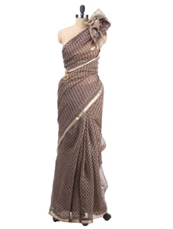 Block Printed Chanderi Saree - Cotton Curio