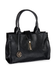 Stylish Black Textured Tote - Addons