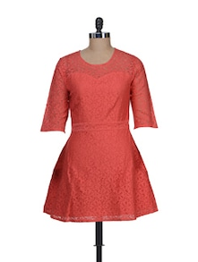 Chic Red Lace Dress - Jiiah
