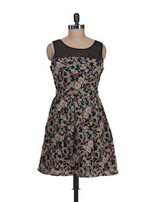 Black & Beige Floral  Dress - Guster Ve..