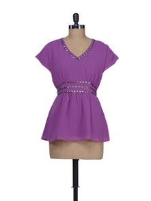 Stylish Purple Studded Top - Guster Ve..