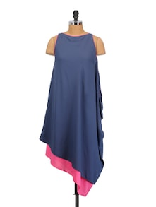 Blue And Pink Layered Dress - Crazi Darzi